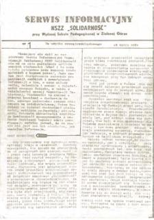 """Serwis Informacyjny NSZZ """"Solidarność"""" przy Wyższej SzkolePedagogicznej w Zielone Górze, nr 1 (18 marca 1981)"""