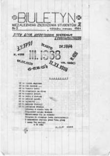 Biuletyn Niezależnego Zrzeszenia Studentów (Akademia Ekonomiczna, Kraków), nr 5 (marzec 1981)