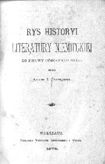 Rys historyi literatury niemieckiej: do połowy ośmnastego wieku