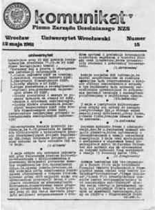 Komunikat: organ prasowy Zarządu Uniwersyteckiego NZS UWr., nr 15 (12 maja 1981)