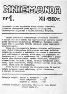 Mniemania: studenckie pismo regionalne Niezależnego Zrzeszenia Studentów redagowane przez Wydział Filologiczny Uniwersytetu Śląskiego i Śląską Akademię Medyczną, nr 1 (XII 1980 r.)