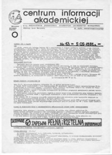 CIA (Centrum Informacji Akademickiej) przy Niezależnym Zrzeszeniu Studentów Uniwersytetu Warszawskiego, nr 15 (14-15.05.1981)