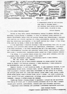 DOK (Duszpasterstwo Oaza KiK): komunikat ruchu młodzieży katolickiej (26.05.81)