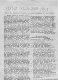 Pismo strajkowe, nr 1 (20.11.1981 r.)