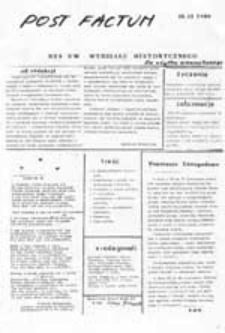 Post factum: NZS U[niwersytetu] W[arszawskiego], nr 8 (28 kwietnia 1981)