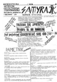 Satyrajk: satyryczna gazeta strajkowa studentów Wydziału Matematyki, Informatyki i Mechaniki UW, nr 6