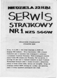 Serwis strajkowy NZS SGGW, nr 1 (22.11.81)