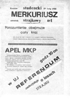 Studencki merkuriusz strajkowy, nr 1 (19 luty 1981)