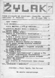 Żylak: pismo Niezależnego Zrzeszenia Studentów Akademii Medycznej w Poznaniu, nr 7 (18 maja 1981)