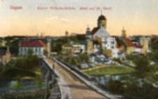 Żagań / Sagan; Kaiser Wilhelm-Brücke. Blick auf die Stadt