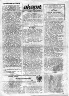 Akapit: pismo studentów, nr 1 (listopad 1987)