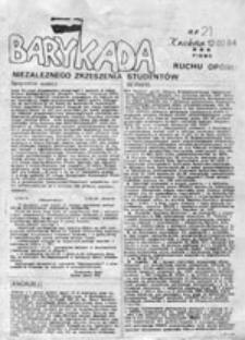 Barykada: pismo R[uchu] O[poru] N[iezależnego] Z[rzeszenia] S[tudentów], nr 1 (Kraków 25.XI.82)