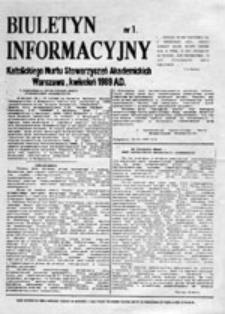 Biuletyn Informacyjny Katolickiego Nurtu Stowarzyszeń Akademickich, nr 1 (kwiecień 1989)