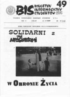 BIS (Biuletyn Informacyjny Studentów) KUL, nr 6 (19 III 1989)