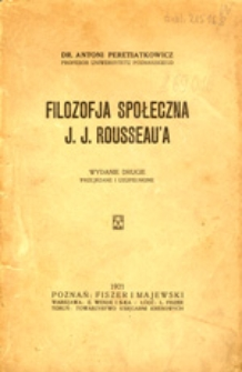 Filozofja społeczna J. J. Rousseau'a