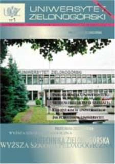 Uniwersytet Zielonogórski, 2001, nr 1 (inauguracyjny) (wrzesień-październik)