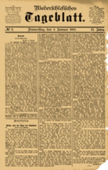 Niederschlesisches Tageblatt, no 2 (Donnerstag, den 4. Januar 1883)