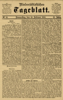 Niederschlesisches Tageblatt, no 44 (Donnerstag, den 22. Februar 1883)