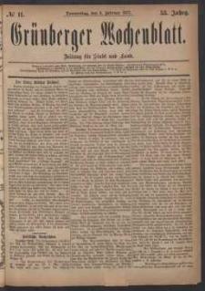 Grünberger Wochenblatt: Zeitung für Stadt und Land, No. 11. (8. Februar 1877)
