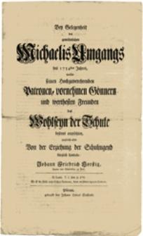 Bey Gelegenheit des gewöhnlichen Michaelis Umgangs des 1754sten Jahres...