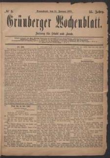 Grünberger Wochenblatt: Zeitung für Stadt und Land, No. 5. (11. Januar 1879)