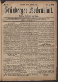 Grünberger Wochenblatt: Zeitung für Stadt und Land, No. 18. (11. Februar 1879)