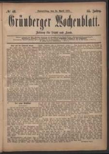 Grünberger Wochenblatt: Zeitung für Stadt und Land, No. 48. (24. April 1879)
