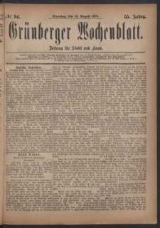 Grünberger Wochenblatt: Zeitung für Stadt und Land, No. 94. (12. August 1879)