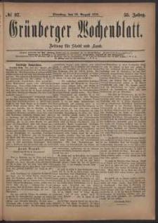 Grünberger Wochenblatt: Zeitung für Stadt und Land, No. 97. (19. August 1879)