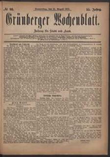 Grünberger Wochenblatt: Zeitung für Stadt und Land, No. 98. (21. August 1879)