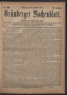 Grünberger Wochenblatt: Zeitung für Stadt und Land, No. 109. (16. September 1879)