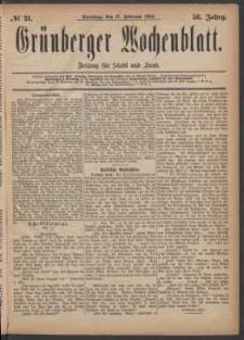 Grünberger Wochenblatt: Zeitung für Stadt und Land, No. 21. (17. Februar 1880)