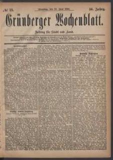 Grünberger Wochenblatt: Zeitung für Stadt und Land, No. 73. (22. Juni 1880)