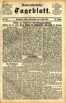 Niederschlesisches Tageblatt, no 132 (Grünberg i. Schl., Donnerstag, den 9. Juni 1898)