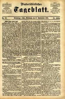 Niederschlesisches Tageblatt, no 221 (Grünberg i. Schl., Mittwoch, den 21. September 1898)