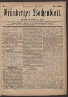 Grünberger Wochenblatt: Zeitung für Stadt und Land, No. 3. (7. Januar 1882)