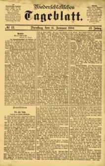 Niederschlesisches Tageblatt, no 12 (Dienstag, den 15. Januar 1884)
