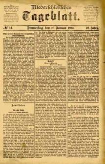 Niederschlesisches Tageblatt, no 14 (Donnerstag, den 17. Januar 1884)