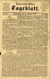 Niederschlesisches Tageblatt, no 20 (Donnerstag, den 24. Januar 1884)