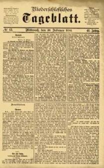Niederschlesisches Tageblatt, no 43 (Mittwoch, den 20. Februar 1884)