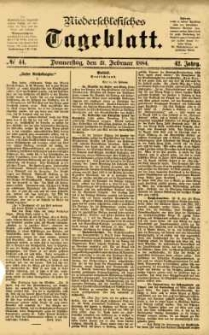 Niederschlesisches Tageblatt, no 44 (Donnerstag, den 21. Februar 1884)