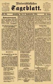 Niederschlesisches Tageblatt, no 216 (Sonntag, den 14. September 1884)
