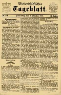 Niederschlesisches Tageblatt, no 231 (Donnerstag, den 2. Oktober 1884)