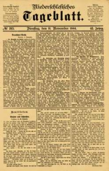 Niederschlesisches Tageblatt, no 265 (Dienstag, den 11. November 1884)