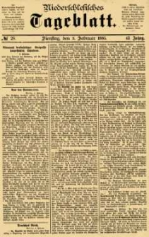 Niederschlesisches Tageblatt, no 28 (Dienstag, den 3. Februar 1885)