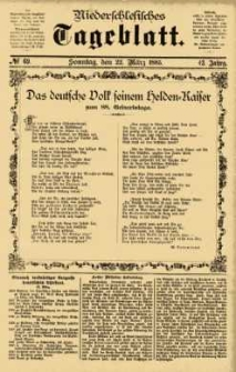 Niederschlesisches Tageblatt, no 69 (Sonntag, den 22. März 1885)