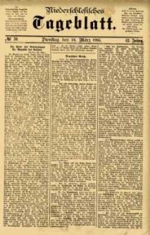 Niederschlesisches Tageblatt, no 70 (Dienstag, den 24. März 1885)