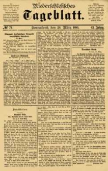 Niederschlesisches Tageblatt, no 74 (Sonnabend, den 28. März 1885)