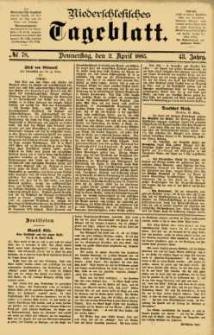 Niederschlesisches Tageblatt, no 78 (Donnerstag, den 2. April 1885)