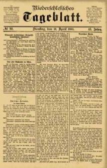 Niederschlesisches Tageblatt, no 92 (Dienstag, den 21. April 1885)